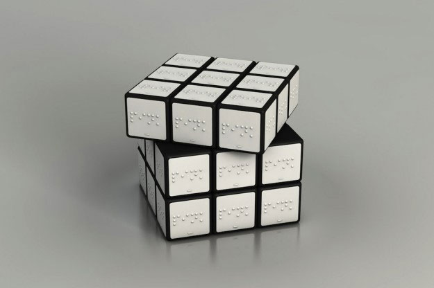 A 3D printed Rubik's cube in Braille designed by Konstantin Datz.
