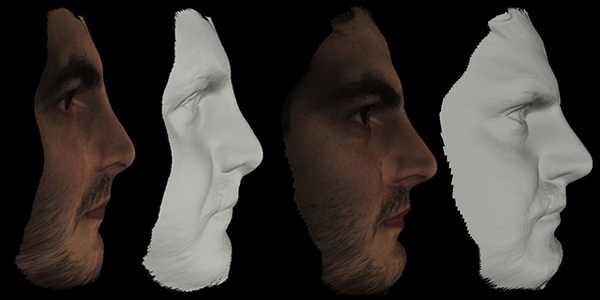 The two faces on the left were scanned using the old version of the software, the two faces on the right were processed with the new software (2.1) using the cloud engine processing, with much more accurate results