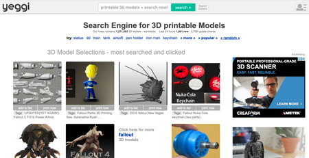 Yeggi search engine for free STL files for 3D printing