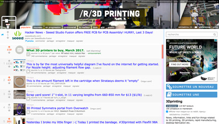 reddit with its 3D printing subreddit is a great discussion group for 3D printing enthusiasts.