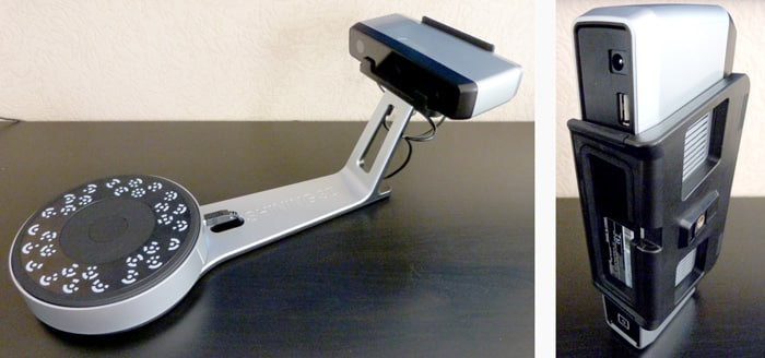 Complete 3D scanner on the left, sensor on the right.