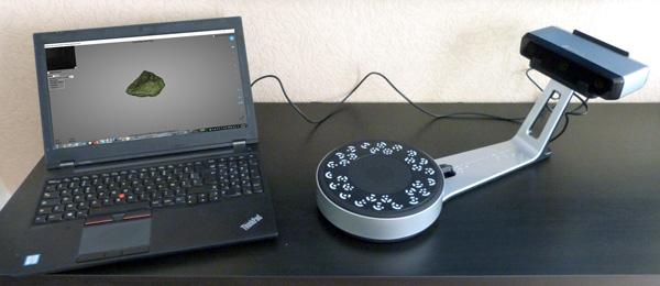 Our Shining 3D EinScan-SP 3D scanner setup.