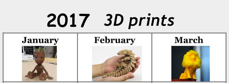 The 2017 3D print calendar - 12 3D models that went viral this year