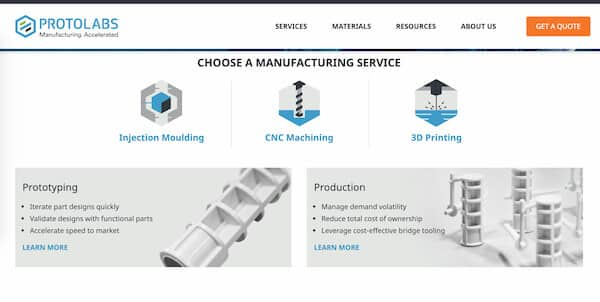 Protolabs fast 3D printing service online