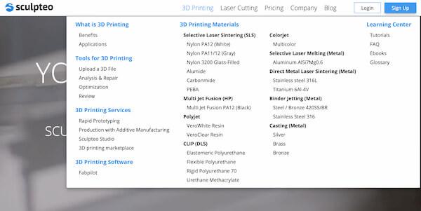 Sculpteo 3D model printing service