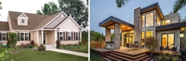 Traditional home vs contemporary home
