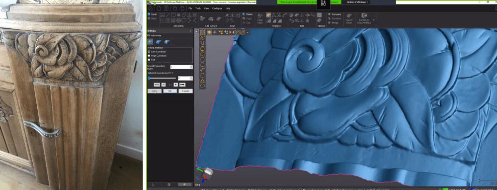 Carved wood 3D scan result Creaform SPARK review