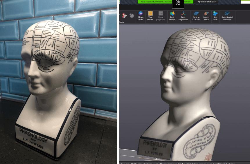 Original model vs 3D scan result