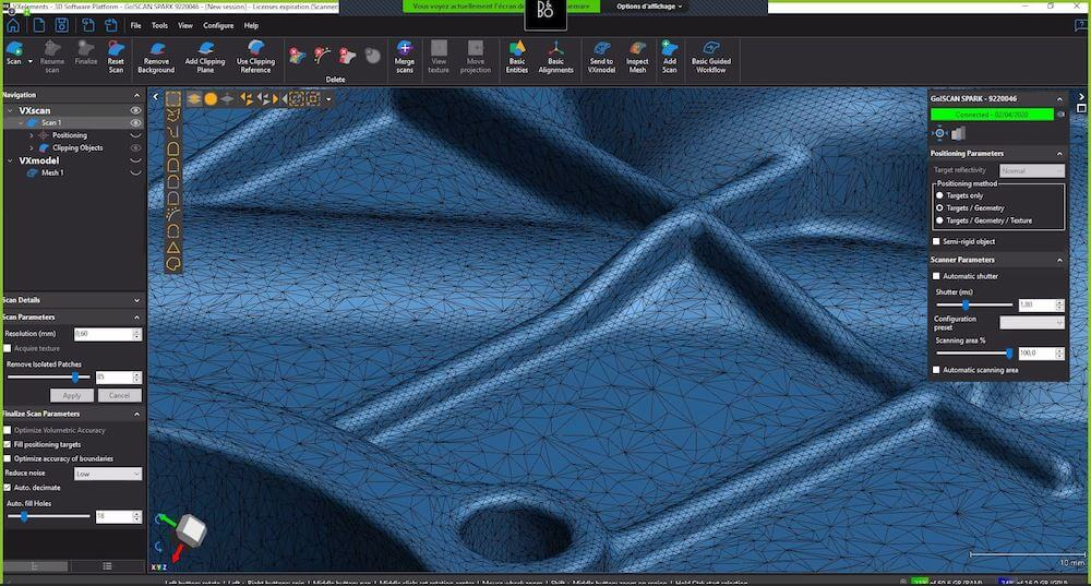 A close-up of the mesh generated from the sample part.
